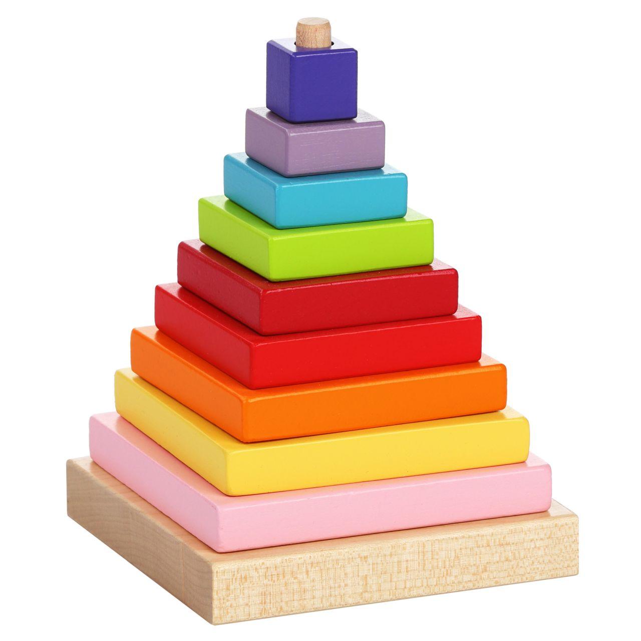 CUBIKA 13357 Barevná pyramida - dřevěná skládačka 9 dílů
