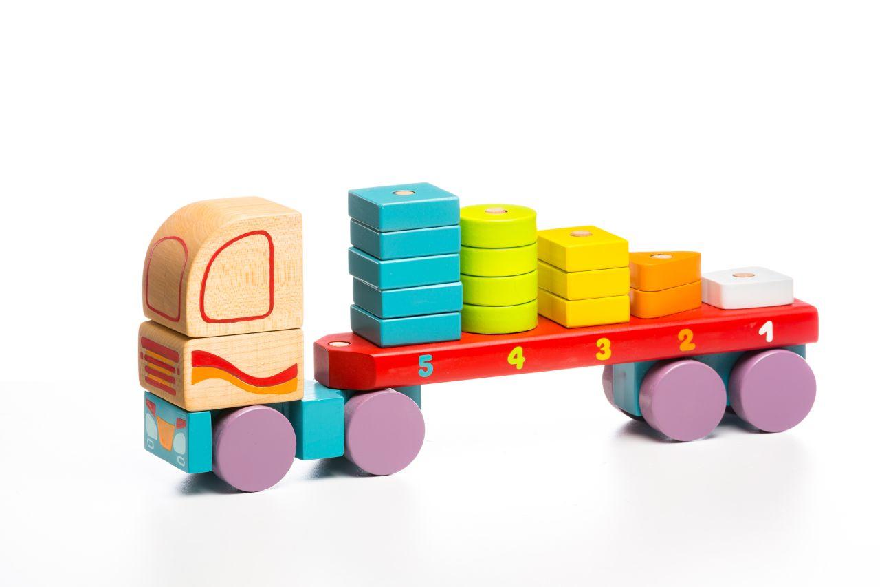 CUBIKA 13425 Kamion s geometrickými tvary - dřevěná skládačka 19 dílů