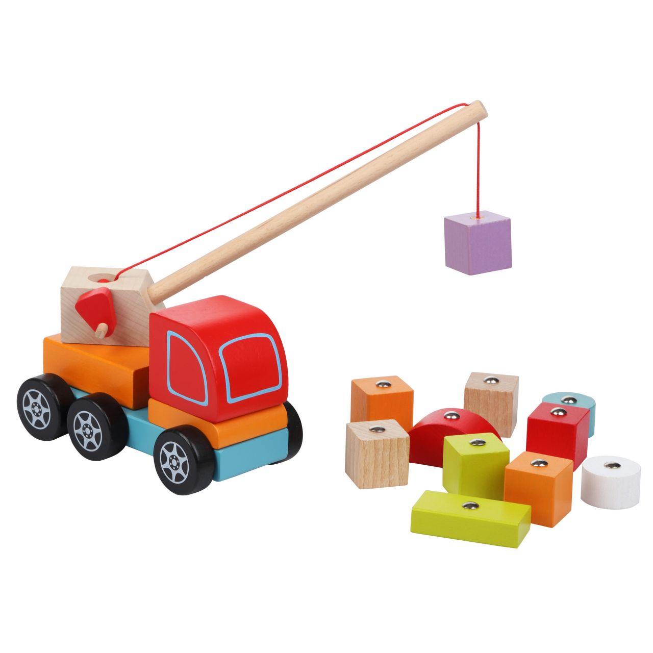 CUBIKA 13982 Autojeřáb s magnetem - dřevěná skládačka 14 dílů