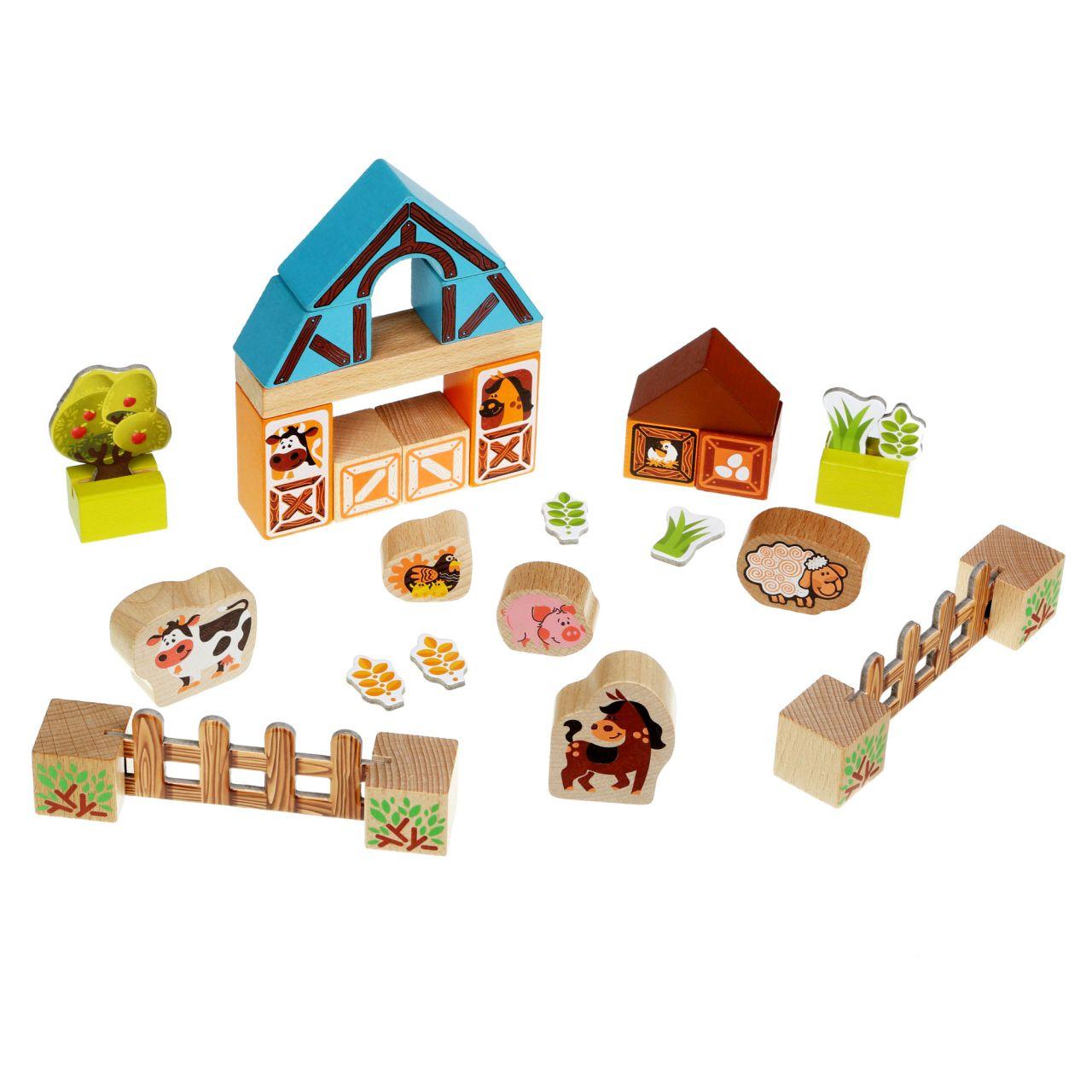 CUBIKA 14842 Farma - dřevěná stavebnice s kartonovými doplňky