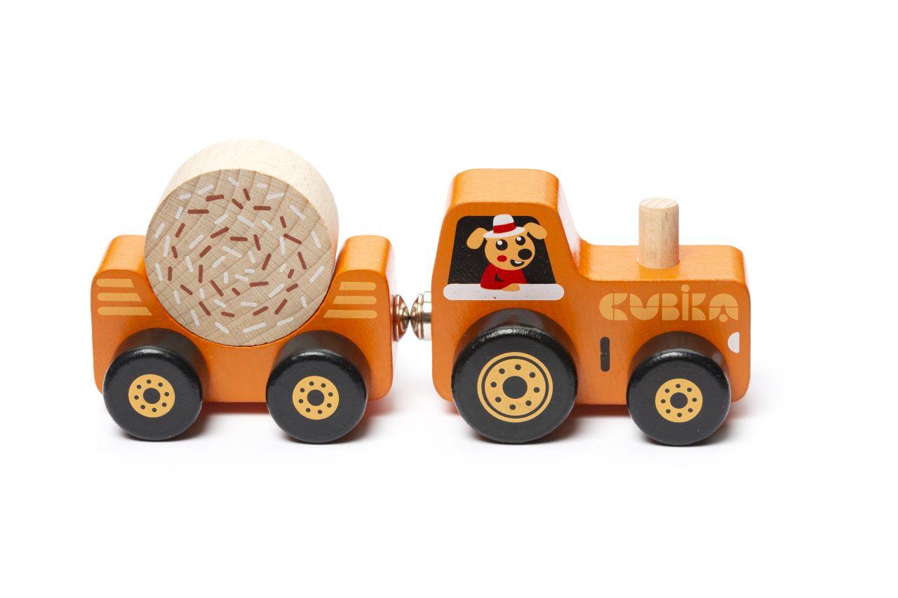 CUBIKA 15351 Traktor s vlekem - dřevěná skládačka s magnetem 3 díly