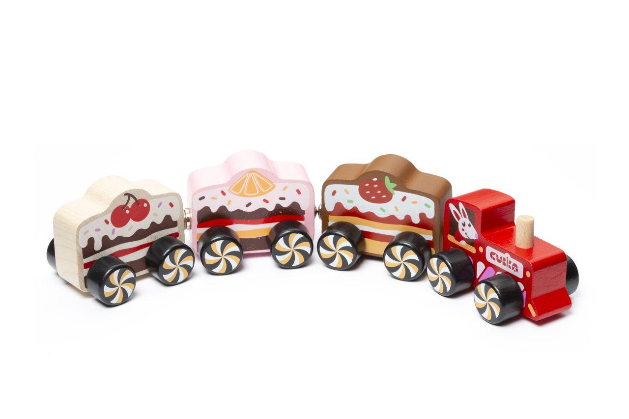 """CUBIKA 15382 Vlak """"Cakes"""" - dřevěný vláček s magnety 4 díly"""